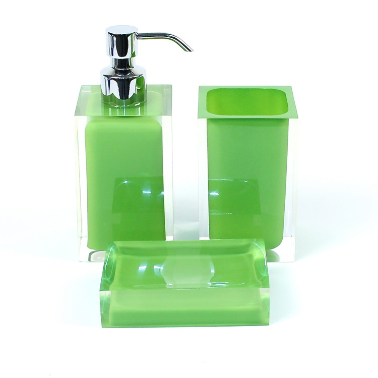 Bathroom Accessory Set, Gedy RA500-04, Green Accessory Set of Thermoplastic Resins with 3 Pieces