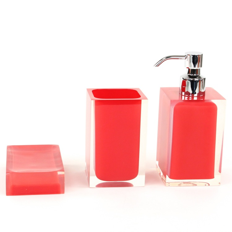 Bathroom Accessory Set, Gedy RA500-06, 3 Piece Red Accessory Set of Thermoplastic Resins