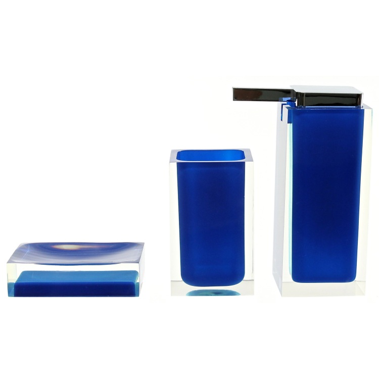 Bathroom Accessory Set, Gedy RA580-05, 3 Pc. Blue Accessory Set Of Thermoplastic Resins