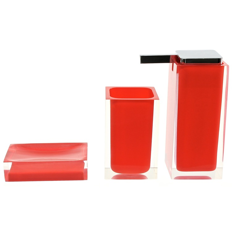 Bathroom Accessory Set, Gedy RA580-06, Red 3 Pc. Accessory Set Made With Thermoplastic Resins