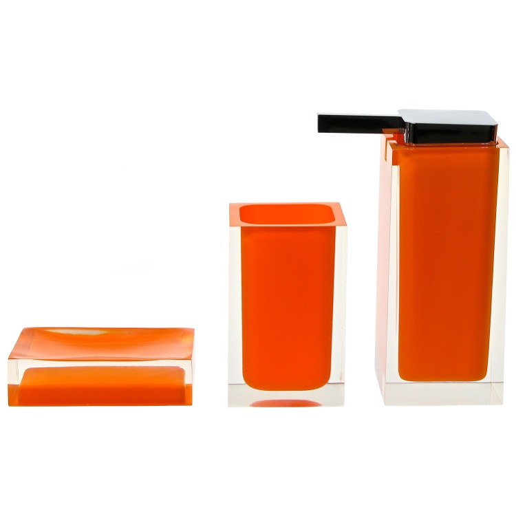 Bathroom Accessory Set, Gedy RA580-67, Orange 3 Pc. Accessory Set Made With Thermoplastic Resins