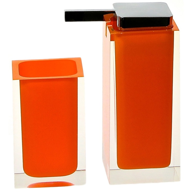 Bathroom Accessory Set, Gedy RA680-67, Orange Two Pc. Accessory Set Made With Thermoplastic Resins