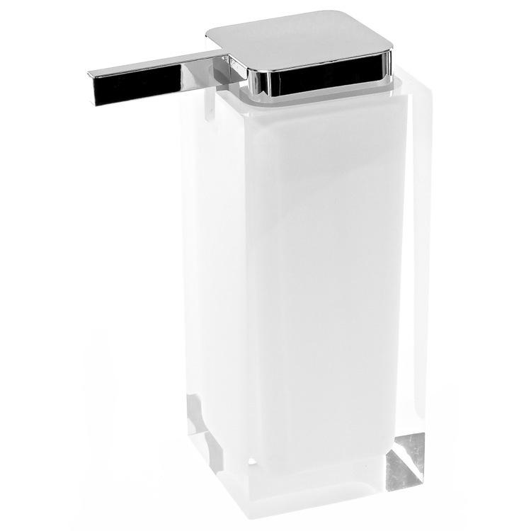 Soap Dispenser, Gedy RA80-02, Square White Countertop Soap Dispenser