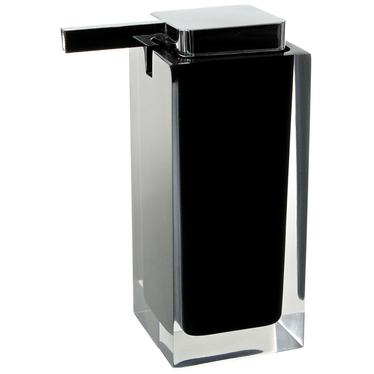 Soap Dispenser, Gedy RA80-14, Square Black Countertop Soap Dispenser