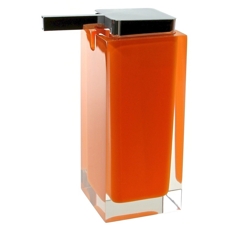 Soap Dispenser, Gedy RA80-67, Square Orange Countertop Soap Dispenser