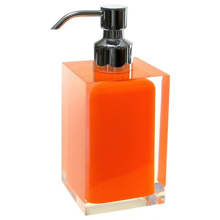 Soap Dispenser, Gedy RA81-67, Square Orange Countertop Soap Dispenser