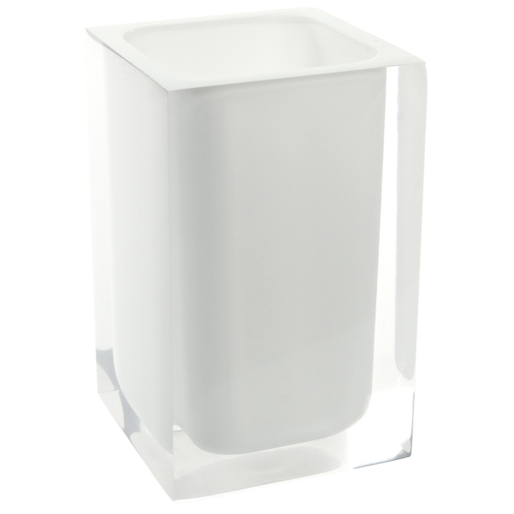 Toothbrush Holder, Gedy RA98-02, Square White Toothbrush Holder