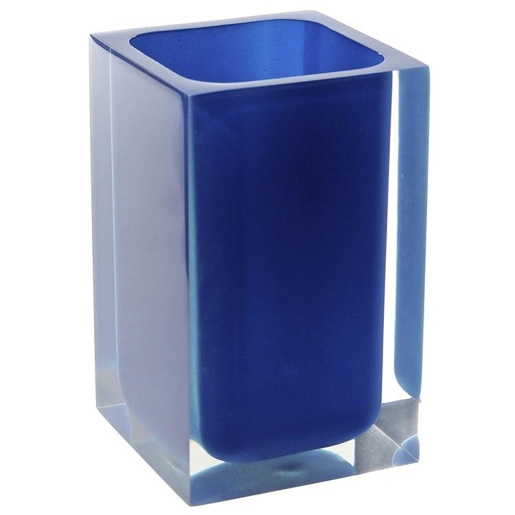 Toothbrush Holder, Gedy RA98-05, Square Blue Toothbrush Holder