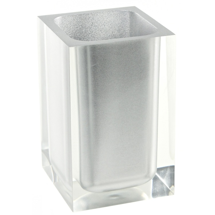 Toothbrush Holder, Gedy RA98-73, Square Silver Toothbrush Holder