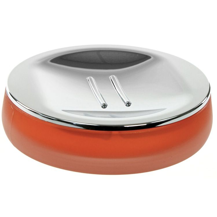 Soap Dish, Gedy TI11-67, Round Orange Thermoplastic Resins Soap Dish in Glass