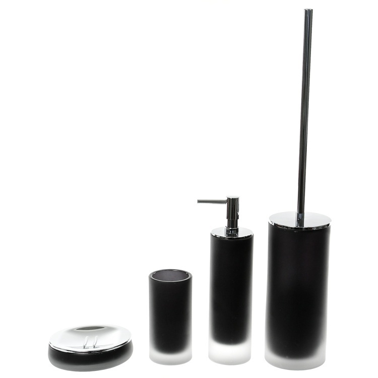 Bathroom Accessory Set, Gedy TI180-14, 4 Piece Black Satin Glass Bathroom Accessory Set