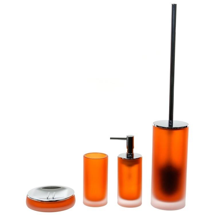 Gedy Tiglio Orange Cylindrical 4 Piece Glass Bathroom Accessory Set