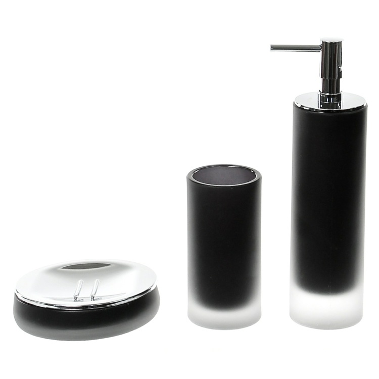 Bathroom Accessory Set, Gedy TI280-14, 3 Piece Black Satin Glass Bathroom Accessory Set