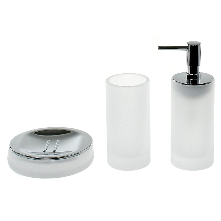 Bathroom Accessory Set, Gedy TI281-02, 3 Piece White Satin Glass Bathroom Accessory Set