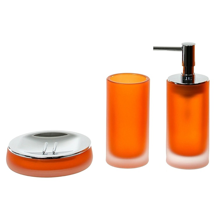 Bathroom Accessory Set, Gedy TI281-67, Orange 3 Piece Satin Glass Bathroom Accessory Set