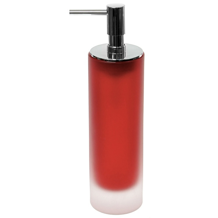 Soap Dispenser, Gedy TI80-06, Free Standing Red Soap Dispenser in Glass