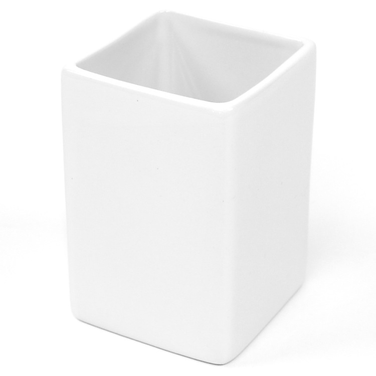 Toothbrush Holder, Gedy VE98-02, Square White Pottery Toothbrush Holder