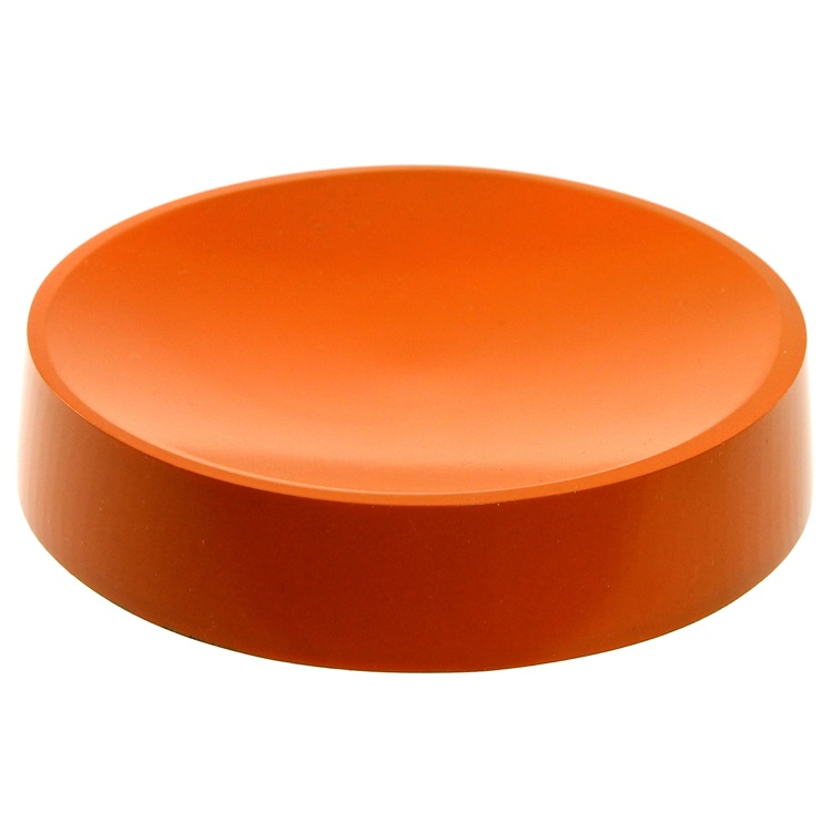 Soap Dish, Gedy YU11-67, Round Free Standing Orange Soap Dish in Resin