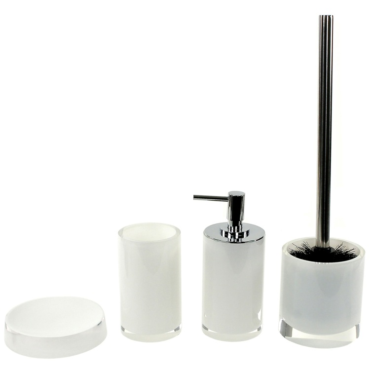 Bathroom Accessory Set, Gedy YU180-02, 4 Piece White Accessory Set, Free Stand