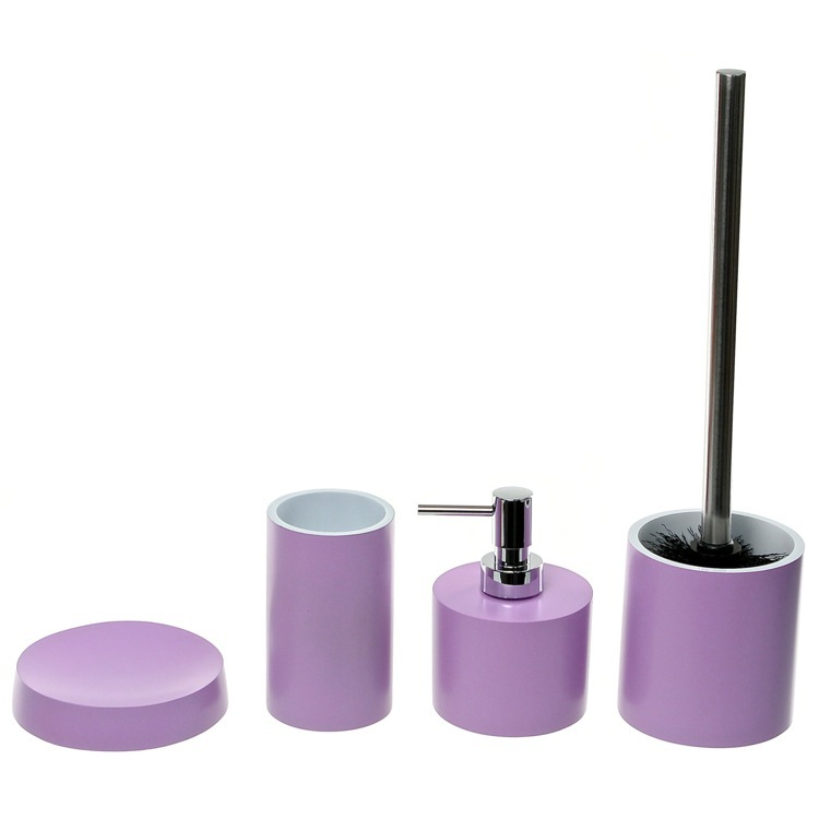 Bathroom Accessory Set, Gedy YU181-79, Bathroom Accessory Set In Lilac With 4 Pieces, Free Stand