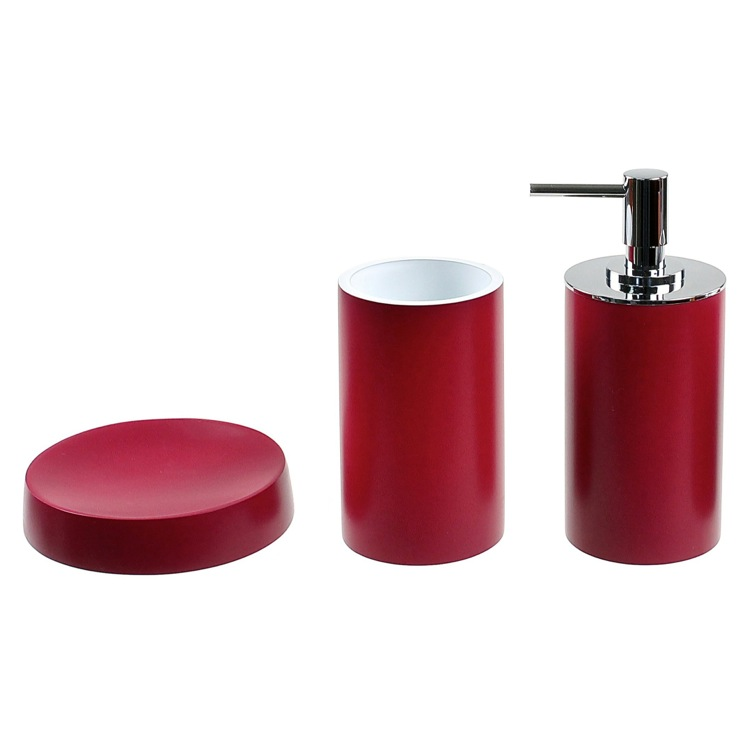 Bathroom Accessory Set, Gedy YU280-53, Bathroom Accessory Set In Ruby Red With Tall Soap Dispenser