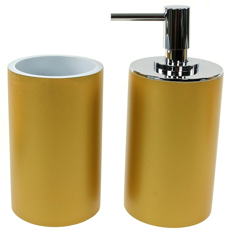 Bathroom Accessory Set, Gedy YU580-87, Bathroom Accessory 2 Piece Set in Gold