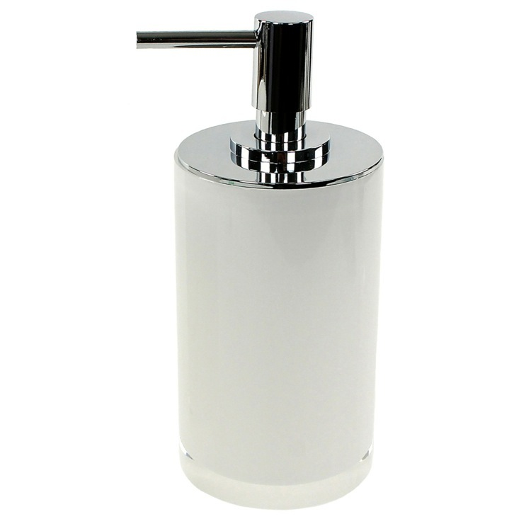 Soap Dispenser, Gedy YU80-02, Round White Free Standing Soap Dispenser in Resin