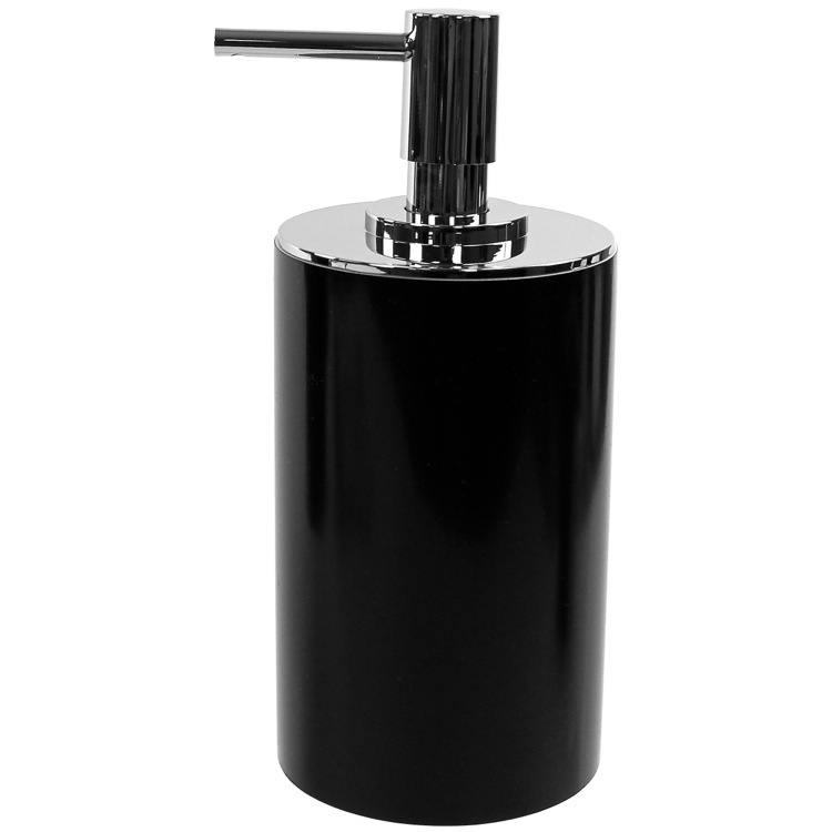 Soap Dispenser, Gedy YU80-14, Black Round Free Standing Soap Dispenser in Resin