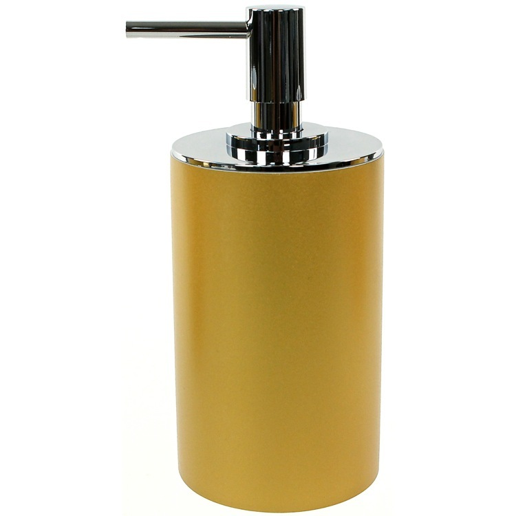 Soap Dispenser, Gedy YU80-87, Gold Finish Round Free Standing Soap Dispenser in Resin