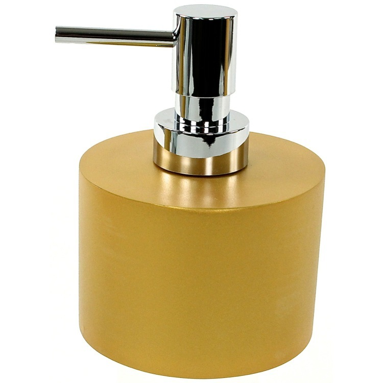 Soap Dispenser, Gedy YU81-87, Gold Short and Round Soap Dispenser in Resin