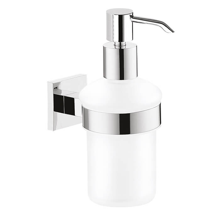 Soap Dispenser, Gedy 2881-13, Wall Mounted Frosted Glass Soap Dispenser