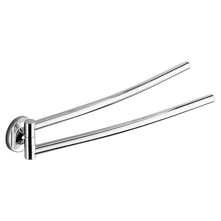 Swivel Towel Bar, Gedy 4223-13, 14 Inch Polished Chrome Double Swivel Towel Bar