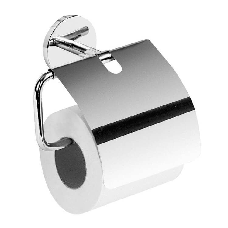 Toilet Paper Holder, Gedy 4225-13, Polished Chrome Toilet Roll Holder With Cover