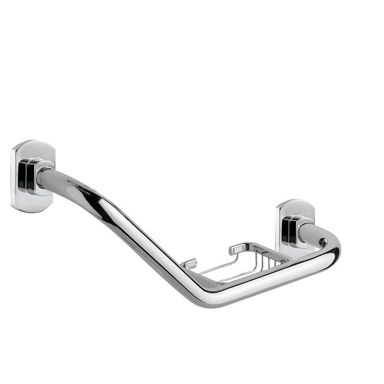 Shower Grab Bar, Gedy ED20-13, Polished Chrome Shower Grab Bar With Soap Holder
