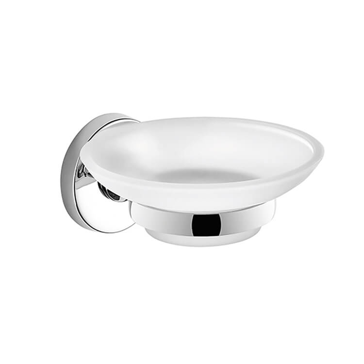 Soap Dish, Gedy FE11-13, Wall Mounted Frosted Glass Soap Dish With Chrome Mounting