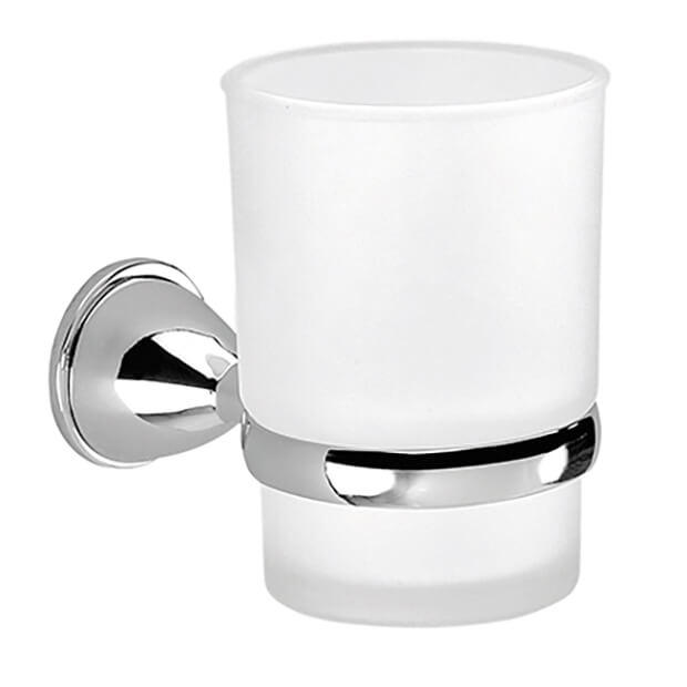 Toothbrush Holder, Gedy GE10-13, Wall Mounted Frosted Glass Toothbrush Holder With Chrome Mounting