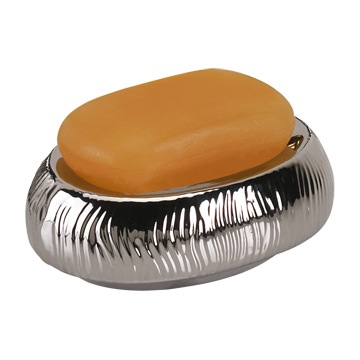 Soap Dish, Gedy JA11-73, Round Silver or Gold Pottery Soap Holder