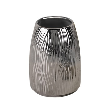 Toothbrush Holder, Gedy JA98-13, Round Silver Pottery Toothbrush Holder