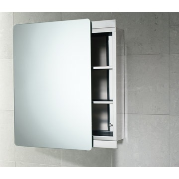Medicine Cabinet, Gedy KO07-13, Stainless Steel Cabinet with Sliding Mirror Door