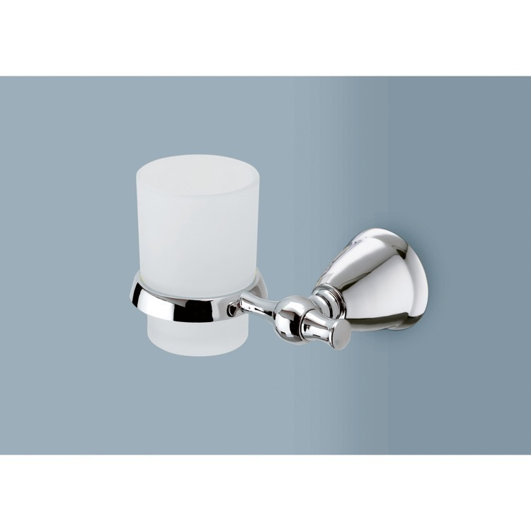 Toothbrush Holder, Gedy LI10-13, Frosted Glass Toothbrush Holder with Polished Chrome Wall Mount