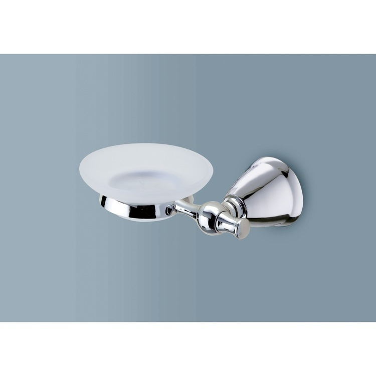 Soap Dish, Gedy LI11-13, Frosted Glass Soap Dish with Polished Chrome Wall Mount