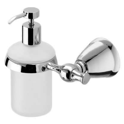Soap Dispenser, Gedy LI81-13, Frosted Glass Soap Dispenser with Polished Chrome Wall Mount and Hand Pump