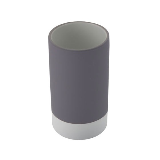 Toothbrush Holder, Gedy MZ98-08, Round Pottery Toothbrush Tumbler Available in Grey Finish