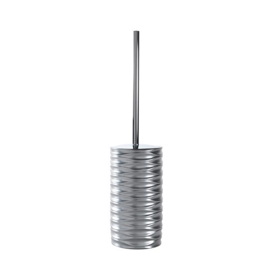 Toilet Brush, Gedy OR33-38, Free Standing Toilet Brush Made of Thermoplastic Resin in Silver Finish