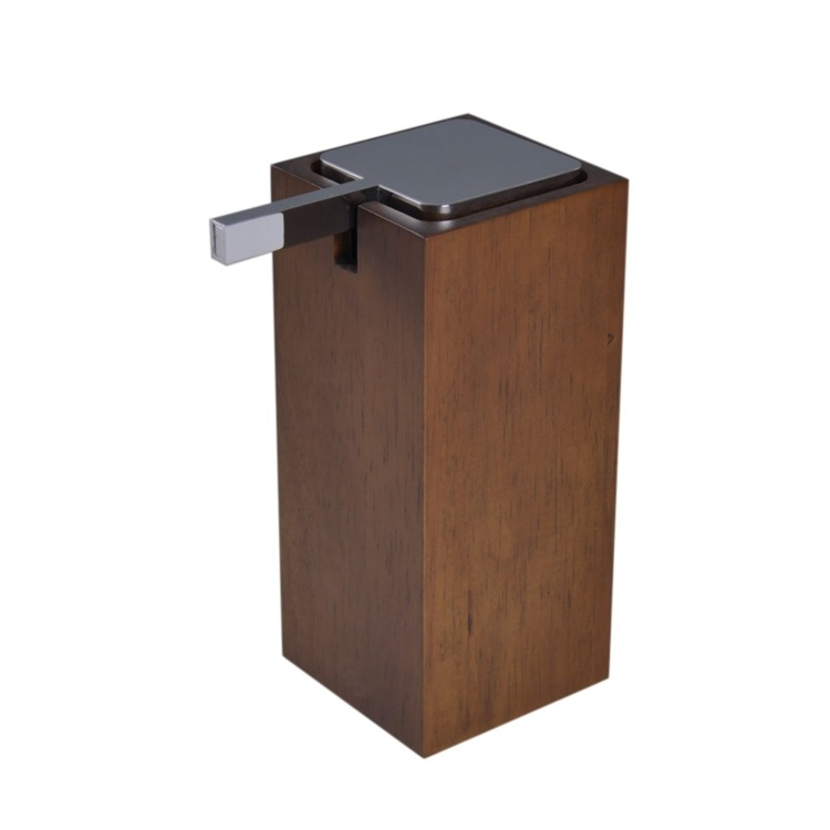 Soap Dispenser, Gedy PA80-31, Tall Square Brown Soap Dispenser in Wood