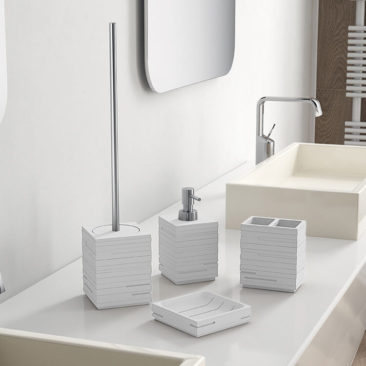 Gedy Qu100 02 By Nameek S Quadrotto Quadrotto White Resin Bathroom Accessory Set Thebathoutlet