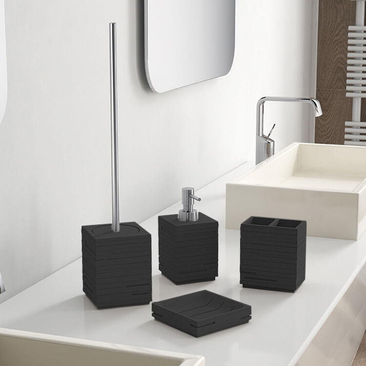 Bathroom Accessory Set, Gedy QU100-14, Quadrotto Black Bathroom Accessory Set