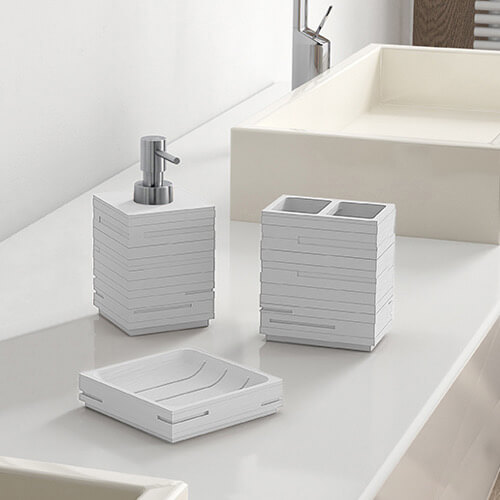 Bathroom Accessory Set, Gedy QU200-02, Quadrotto White Bathroom Accessory Set