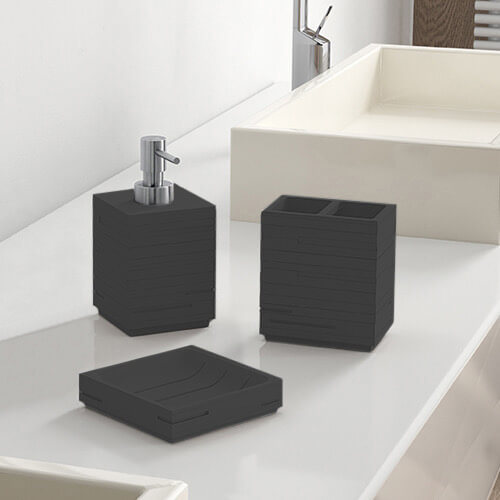 Quadrotto Black Bathroom Accessory Set, Black Bathroom Accessory Set