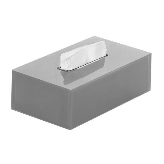 Tissue Box Cover, Gedy RA08-73, Thermoplastic Resin Rectangular Tissue Box Cover in Silver Finish